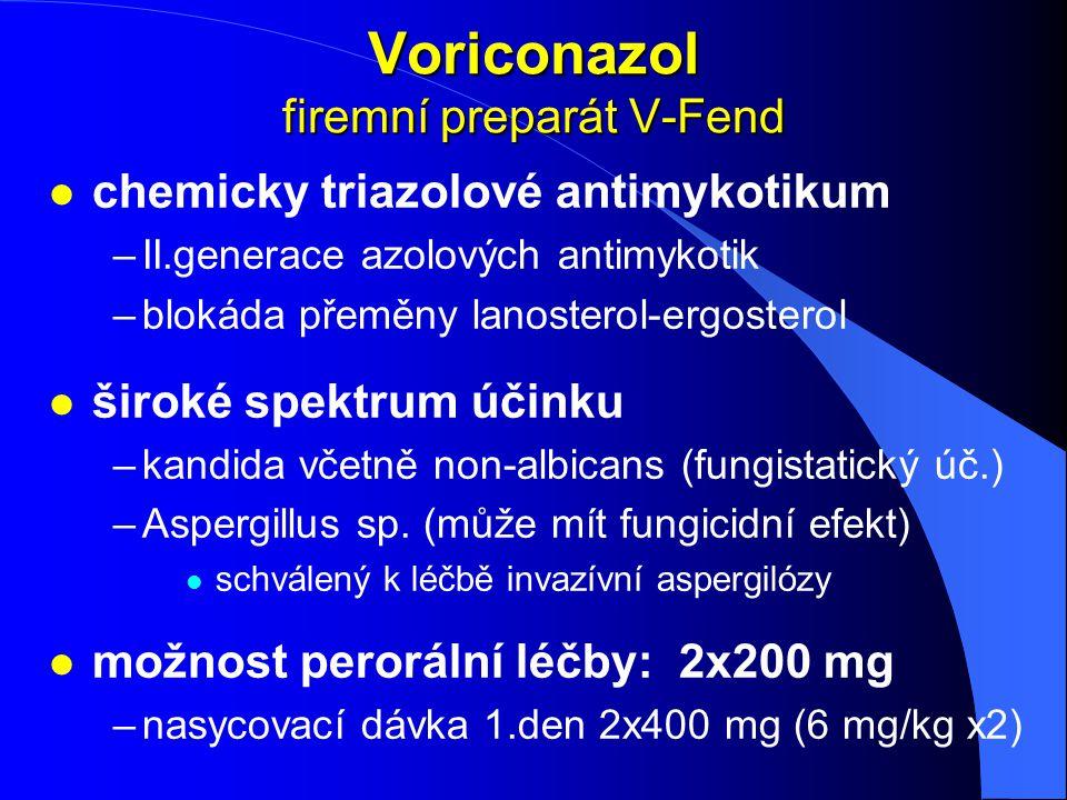 Voriconazol firemní preparát V-Fend l chemicky triazolové antimykotikum –II.generace azolových antimykotik –blokáda přeměny lanosterol-ergosterol l ši
