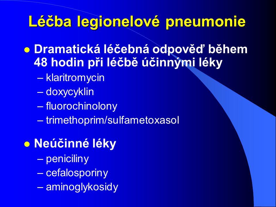 Léčba legionelové pneumonie l Dramatická léčebná odpověď během 48 hodin při léčbě účinnými léky –klaritromycin –doxycyklin –fluorochinolony –trimethop