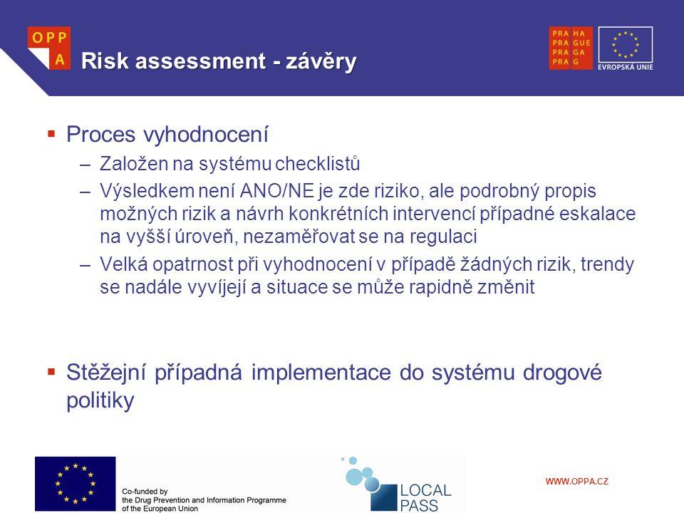 Risk assessment - závěry  Proces vyhodnocení –Založen na systému checklistů –Výsledkem není ANO/NE je zde riziko, ale podrobný propis možných rizik a návrh konkrétních intervencí případné eskalace na vyšší úroveň, nezaměřovat se na regulaci –Velká opatrnost při vyhodnocení v případě žádných rizik, trendy se nadále vyvíjejí a situace se může rapidně změnit  Stěžejní případná implementace do systému drogové politiky