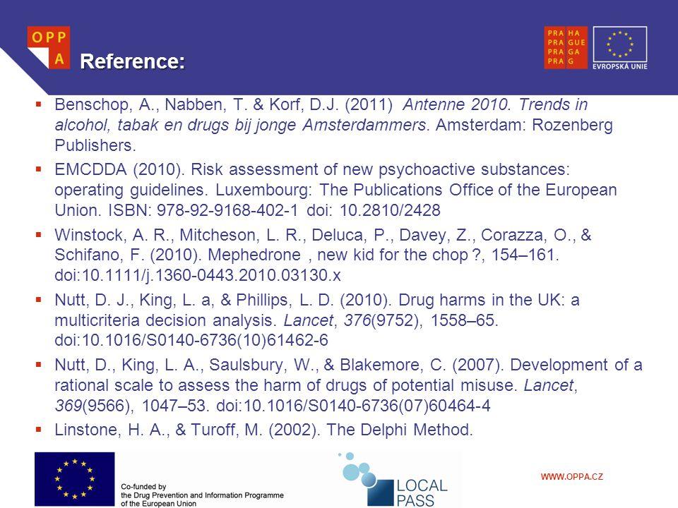 WWW.OPPA.CZ Reference:  Benschop, A., Nabben, T. & Korf, D.J. (2011) Antenne 2010. Trends in alcohol, tabak en drugs bij jonge Amsterdammers. Amsterd