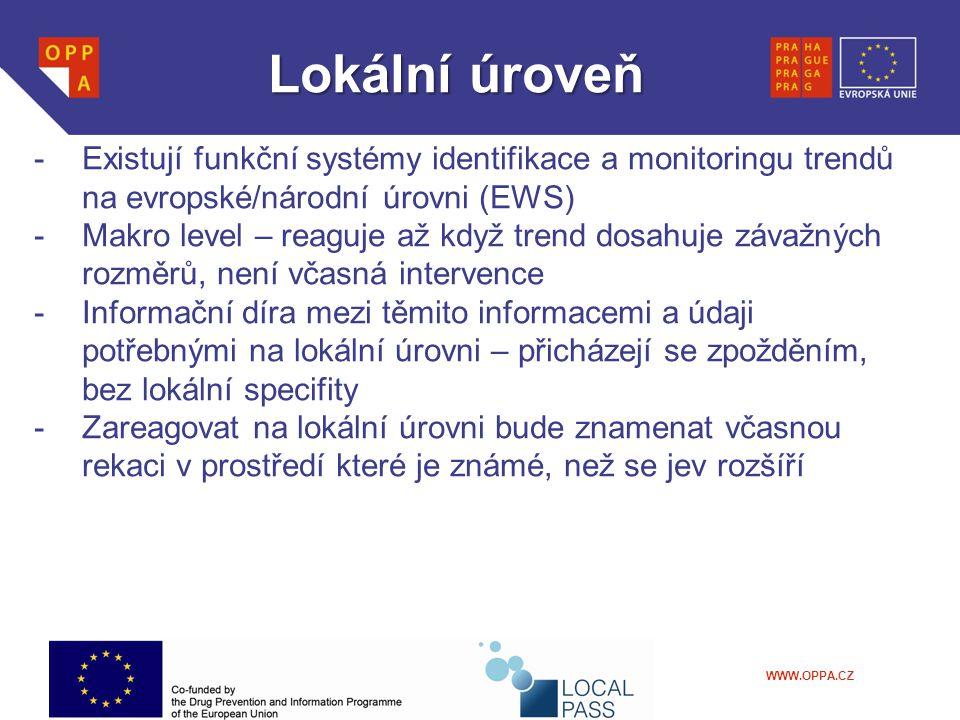 WWW.OPPA.CZ Lokálníúroveň Lokální úroveň -Existují funkční systémy identifikace a monitoringu trendů na evropské/národní úrovni (EWS) -Makro level – reaguje až když trend dosahuje závažných rozměrů, není včasná intervence -Informační díra mezi těmito informacemi a údaji potřebnými na lokální úrovni – přicházejí se zpožděním, bez lokální specifity -Zareagovat na lokální úrovni bude znamenat včasnou rekaci v prostředí které je známé, než se jev rozšíří