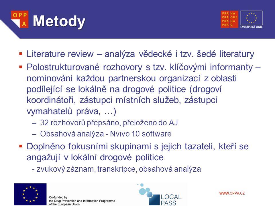 WWW.OPPA.CZ Metody  Literature review – analýza vědecké i tzv. šedé literatury  Polostrukturované rozhovory s tzv. klíčovými informanty – nominováni