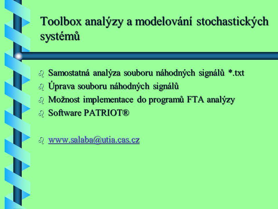 Toolbox analýzy a modelování stochastických systémů b Samostatná analýza souboru náhodných signálů *.txt b Úprava souboru náhodných signálů b Možnost