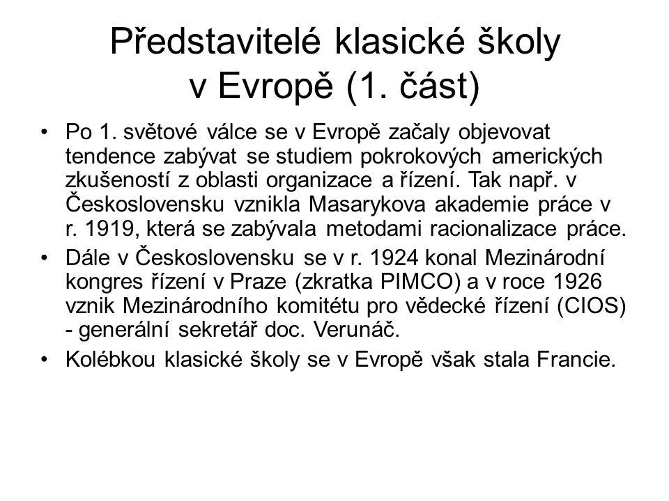Představitelé klasické školy v Evropě (1.část) Po 1.
