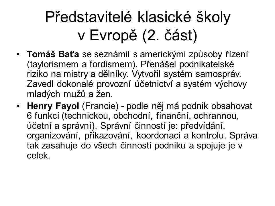 Představitelé klasické školy v Evropě (2.