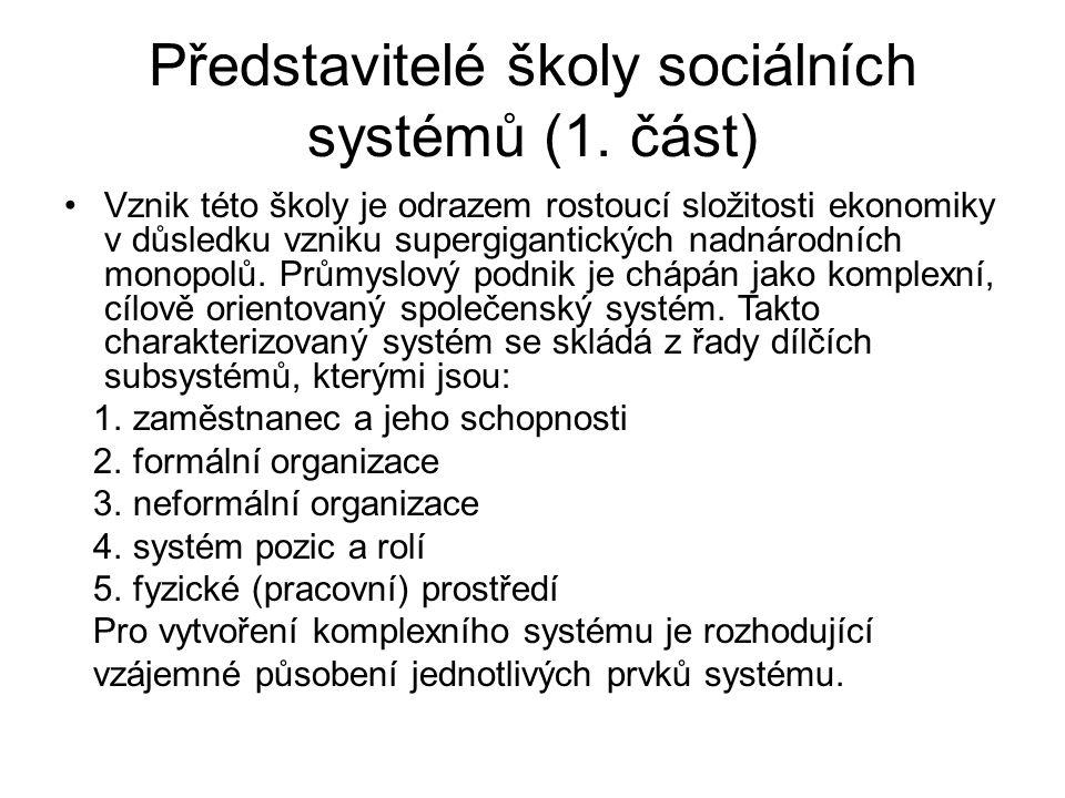 Představitelé školy sociálních systémů (1.