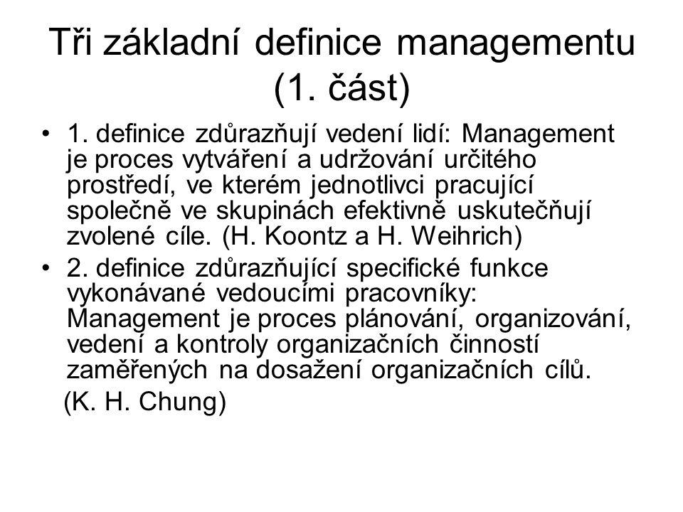Tři základní definice managementu (1.část) 1.