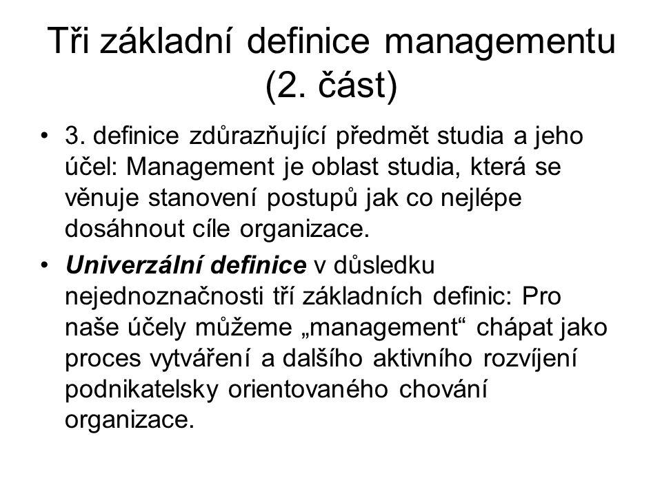 Tři základní definice managementu (2.část) 3.