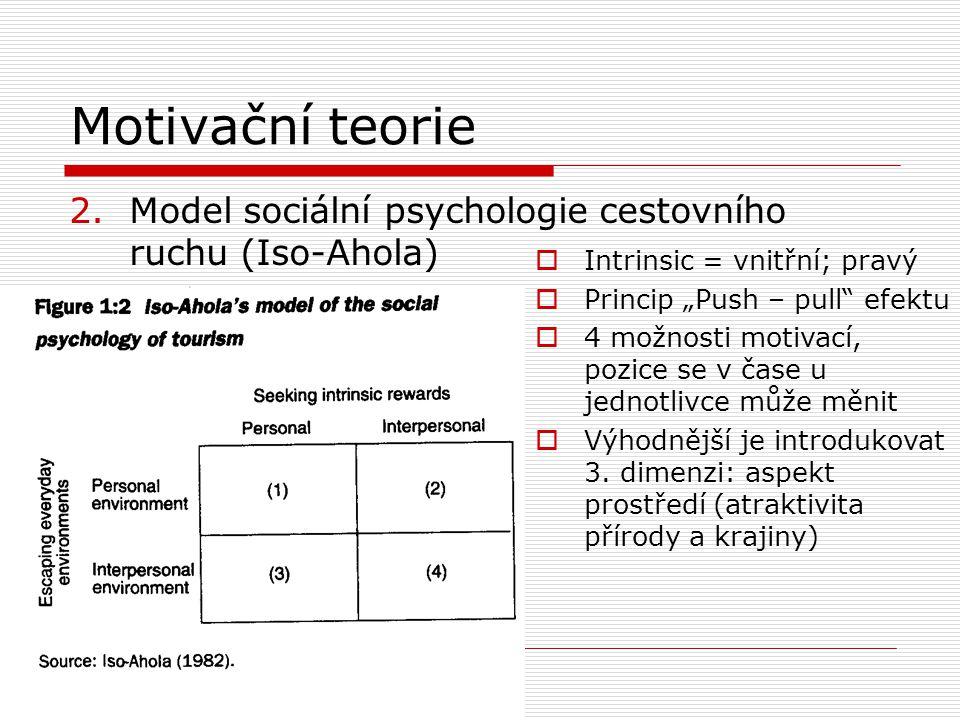 Motivační teorie 3.Psychografický profil (Plog)  Založen na osobnostních charakteristikách jednotlivce  Populace je rozdělena podle osobnostního kontinua: psychocentrici - allocentrici