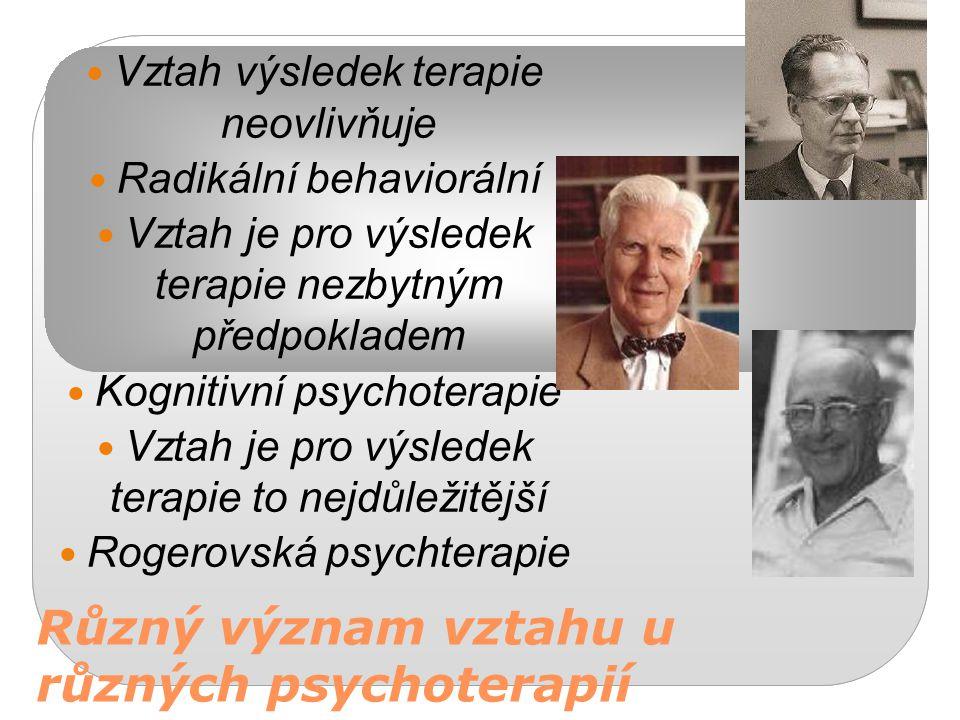 Různý význam vztahu u různých psychoterapií Vztah výsledek terapie neovlivňuje Radikální behaviorální Vztah je pro výsledek terapie nezbytným předpokl