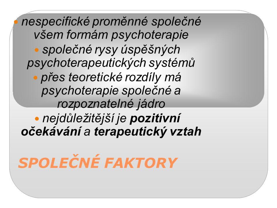 SPOLEČNÉ FAKTORY nespecifické proměnné společné všem formám psychoterapie společné rysy úspěšných psychoterapeutických systémů přes teoretické rozdíly