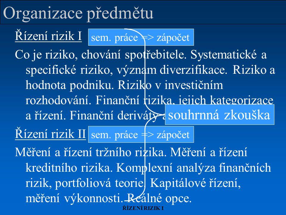 ŘÍZENÍ RIZIK I Organizace předmětu Řízení rizik I Co je riziko, chování spotřebitele. Systematické a specifické riziko, význam diverzifikace. Riziko a