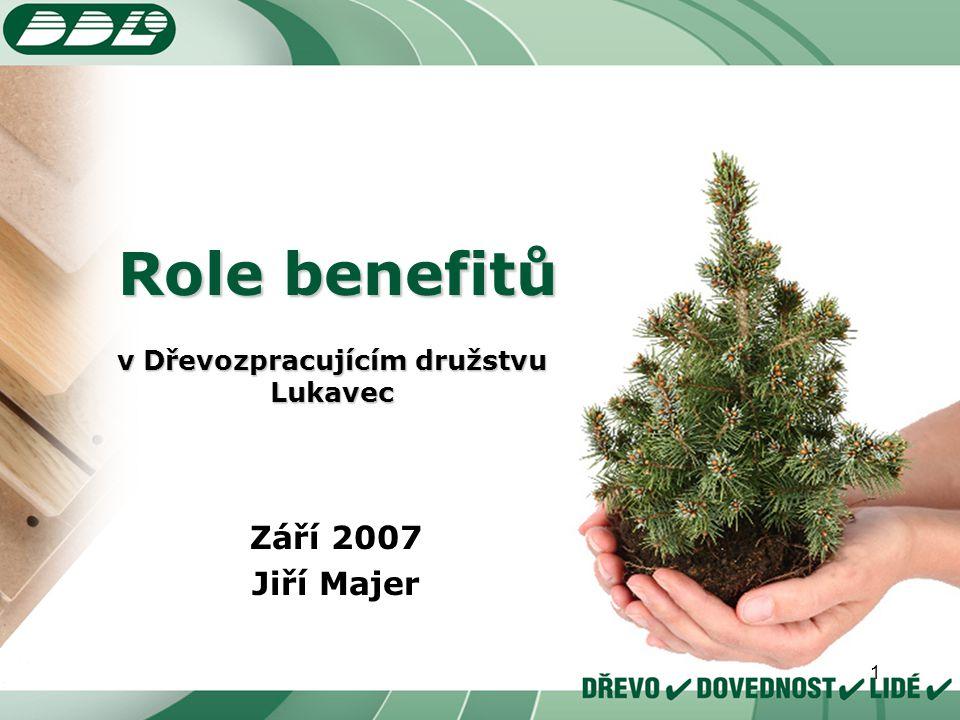 1 v Dřevozpracujícím družstvu Lukavec Září 2007 Jiří Majer Role benefitů