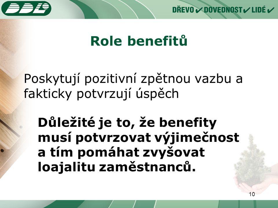 10 Role benefitů Poskytují pozitivní zpětnou vazbu a fakticky potvrzují úspěch Důležité je to, že benefity musí potvrzovat výjimečnost a tím pomáhat zvyšovat loajalitu zaměstnanců.