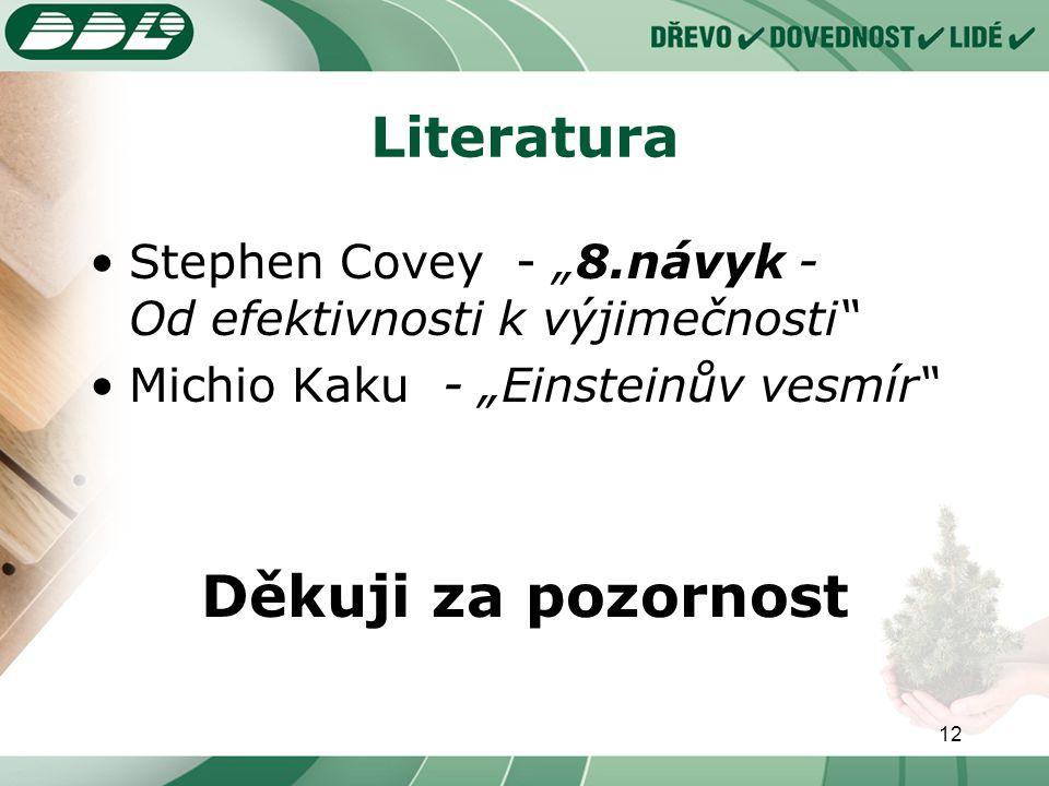 """12 Literatura Stephen Covey - """"8.návyk - Od efektivnosti k výjimečnosti Michio Kaku - """"Einsteinův vesmír Děkuji za pozornost"""