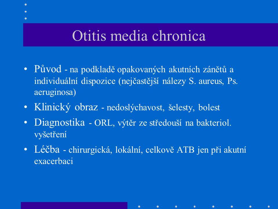 Otitis media chronica Původ - na podkladě opakovaných akutních zánětů a individuální dispozice (nejčastější nálezy S.