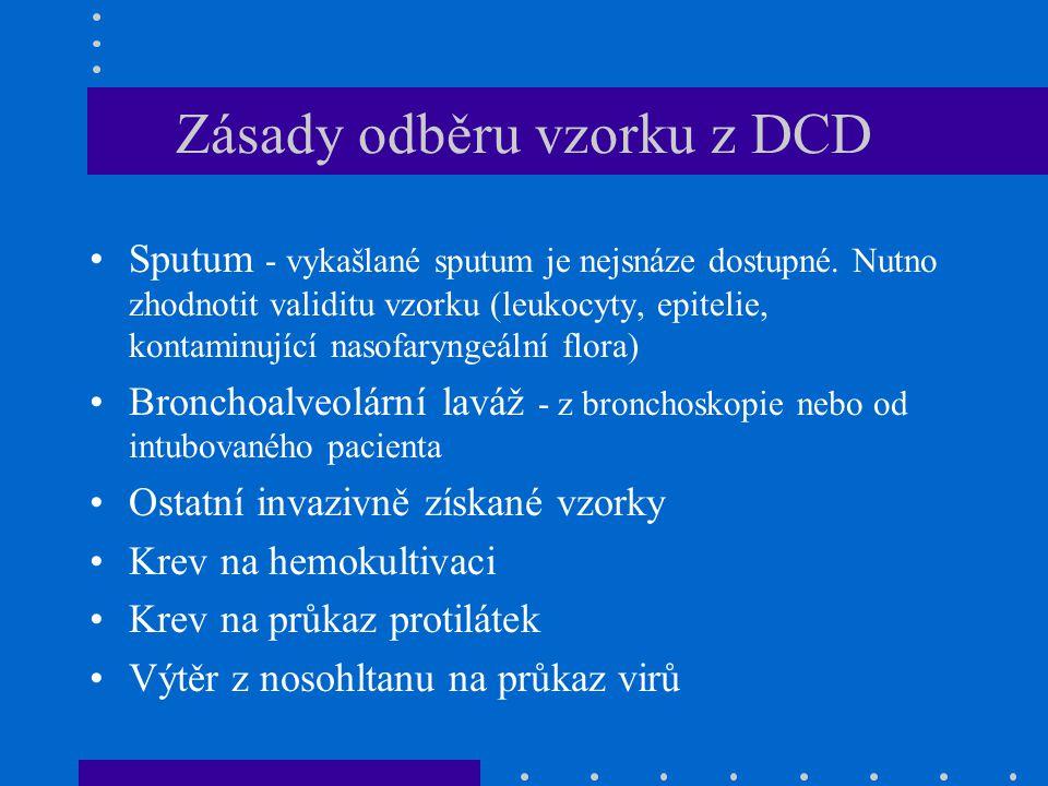 Zásady odběru vzorku z DCD Sputum - vykašlané sputum je nejsnáze dostupné.