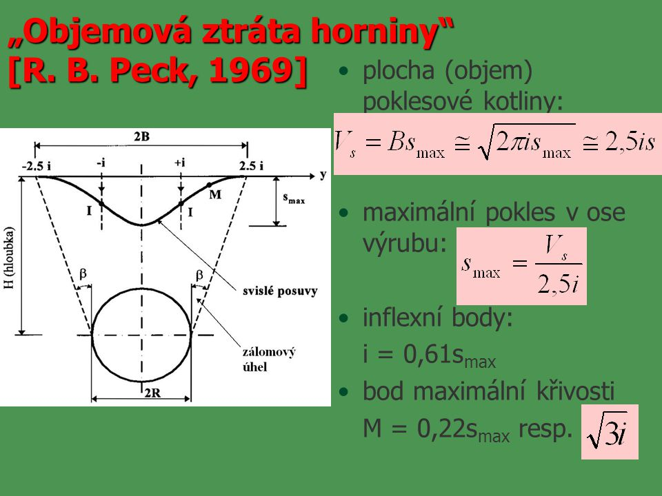 """plocha (objem) poklesové kotliny: maximální pokles v ose výrubu: inflexní body: i = 0,61s max bod maximální křivosti M = 0,22s max resp. """"Objemová ztr"""