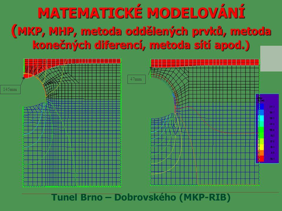 MATEMATICKÉ MODELOVÁNÍ ( MKP, MHP, metoda oddělených prvků, metoda konečných diferencí, metoda sítí apod.) Tunel Brno – Dobrovského (MKP-RIB) 47mm 145