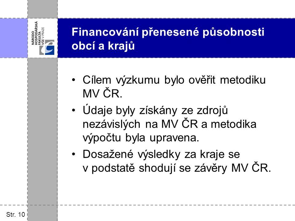 Str. 10 Cílem výzkumu bylo ověřit metodiku MV ČR. Údaje byly získány ze zdrojů nezávislých na MV ČR a metodika výpočtu byla upravena. Dosažené výsledk
