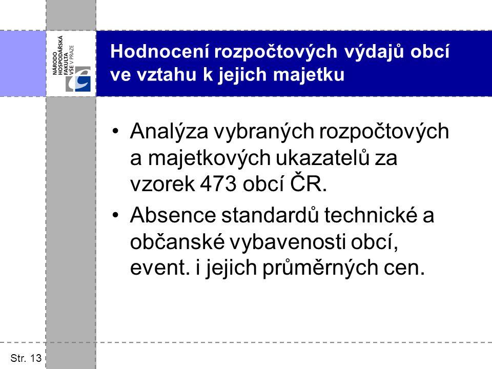 Str. 13 Hodnocení rozpočtových výdajů obcí ve vztahu k jejich majetku Analýza vybraných rozpočtových a majetkových ukazatelů za vzorek 473 obcí ČR. Ab