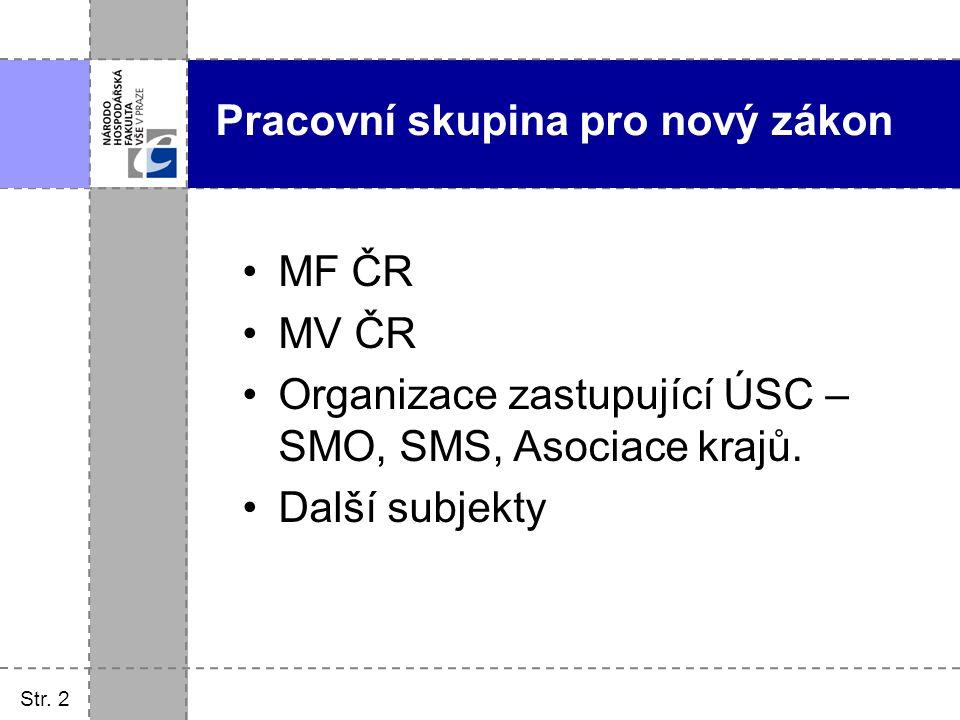 Str. 2 Pracovní skupina pro nový zákon MF ČR MV ČR Organizace zastupující ÚSC – SMO, SMS, Asociace krajů. Další subjekty