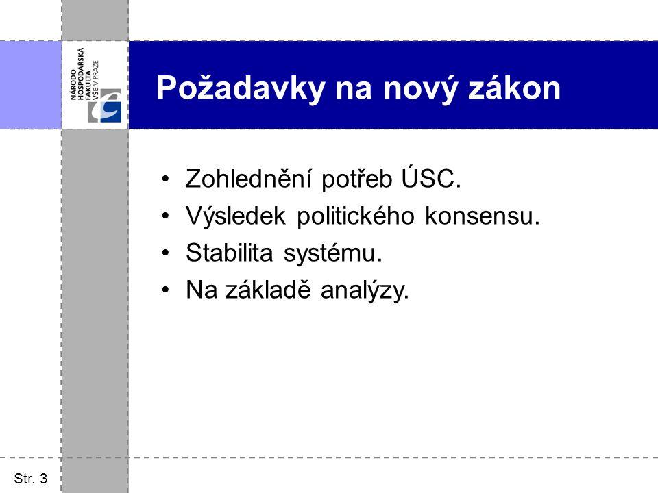Zohlednění potřeb ÚSC. Výsledek politického konsensu. Stabilita systému. Na základě analýzy. Str. 3 Požadavky na nový zákon