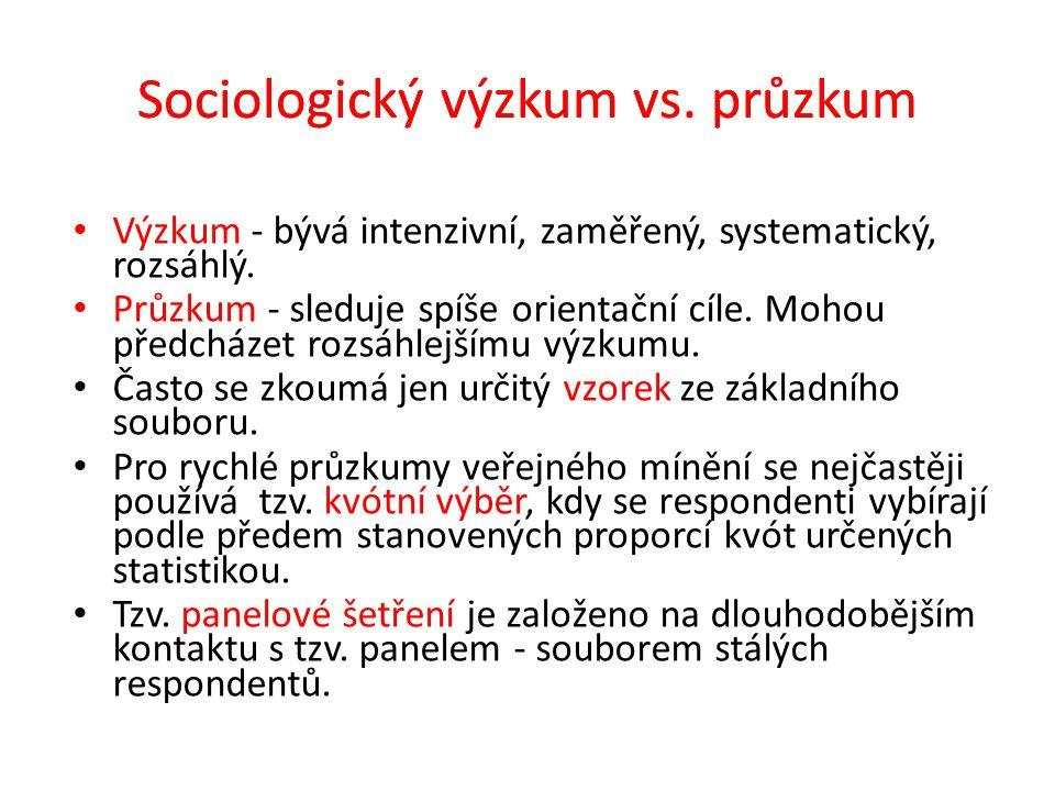 Sociologický výzkum – fáze výzkumu 1.Systém poznatků - předchází každému výzkumu.