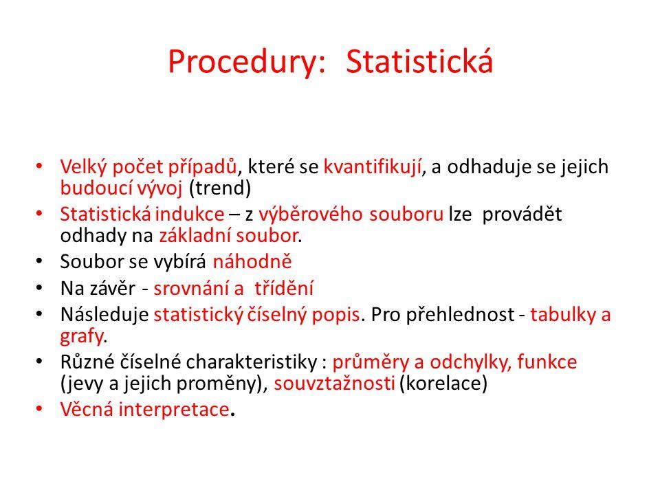 Procedury: Statistická Velký počet případů, které se kvantifikují, a odhaduje se jejich budoucí vývoj (trend) Statistická indukce – z výběrového soubo