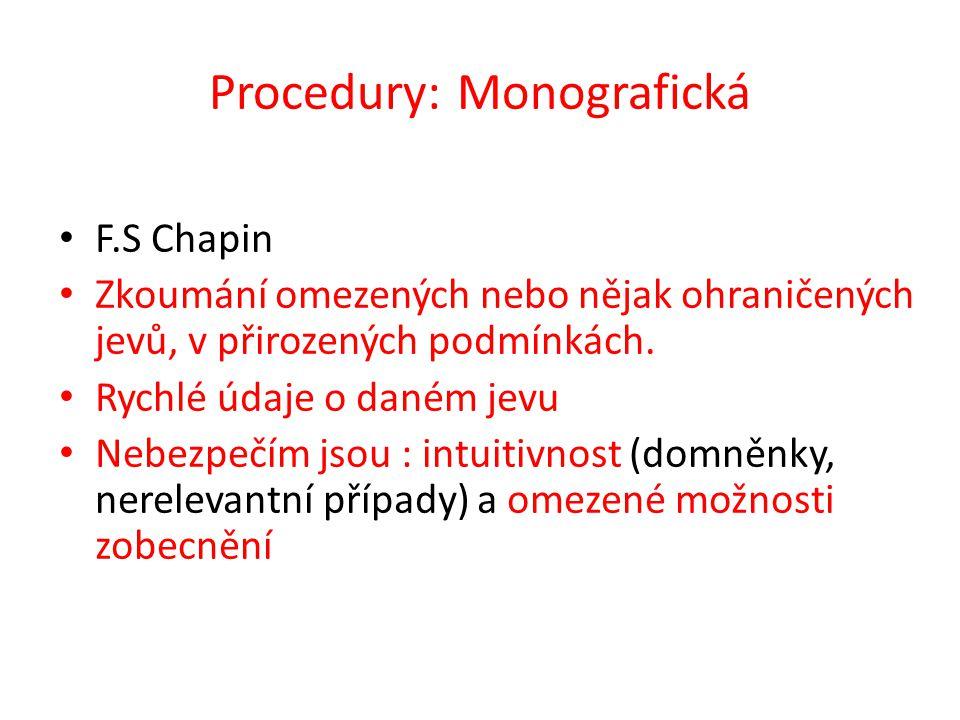 Procedury: Monografická F.S Chapin Zkoumání omezených nebo nějak ohraničených jevů, v přirozených podmínkách. Rychlé údaje o daném jevu Nebezpečím jso