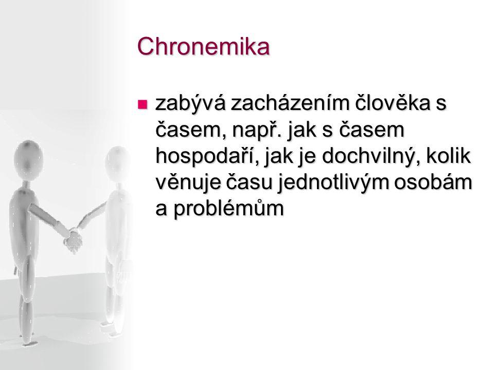 Chronemika zabývá zacházením člověka s časem, např. jak s časem hospodaří, jak je dochvilný, kolik věnuje času jednotlivým osobám a problémům zabývá z