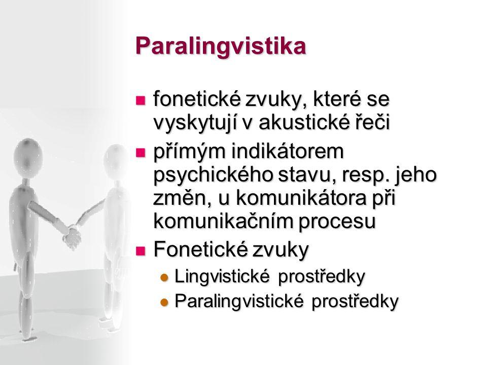 Paralingvistika fonetické zvuky, které se vyskytují v akustické řeči fonetické zvuky, které se vyskytují v akustické řeči přímým indikátorem psychické