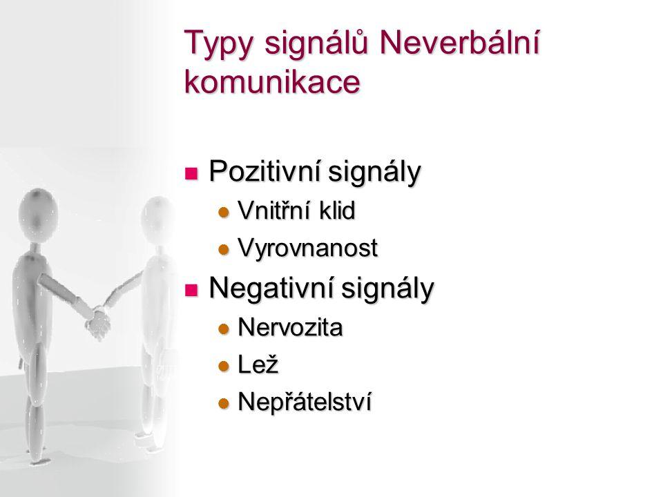 Pozitivní signály Pozitivní signály Vnitřní klid Vnitřní klid Vyrovnanost Vyrovnanost Negativní signály Negativní signály Nervozita Nervozita Lež Lež