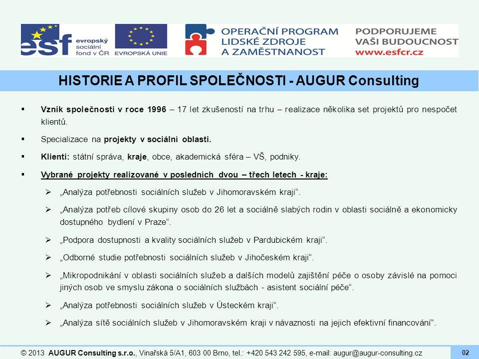 HISTORIE A PROFIL SPOLEČNOSTI - AUGUR Consulting © 2013 AUGUR Consulting s.r.o., Vinařská 5/A1, 603 00 Brno, tel.: +420 543 242 595, e-mail: augur@aug