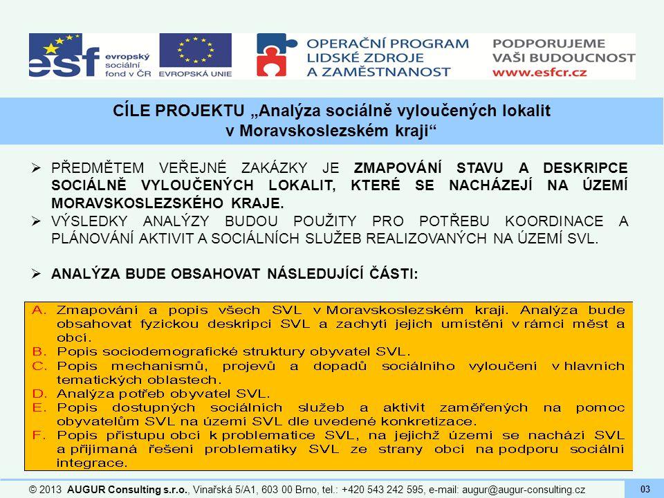 """CÍLE PROJEKTU """"Analýza sociálně vyloučených lokalit v Moravskoslezském kraji"""" © 2013 AUGUR Consulting s.r.o., Vinařská 5/A1, 603 00 Brno, tel.: +420 5"""