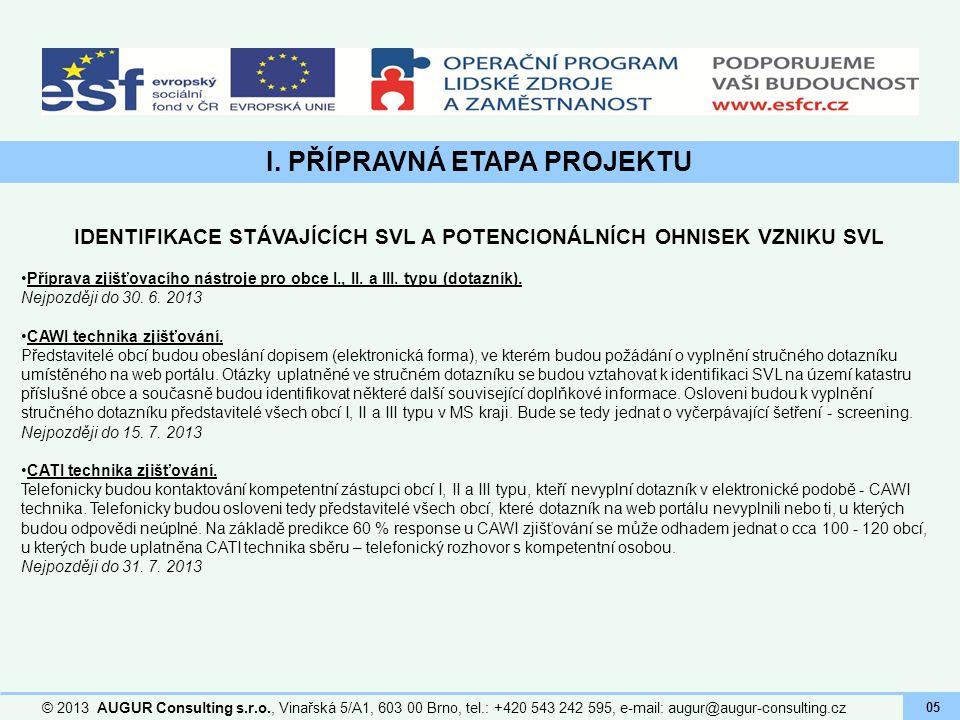 I. PŘÍPRAVNÁ ETAPA PROJEKTU © 2013 AUGUR Consulting s.r.o., Vinařská 5/A1, 603 00 Brno, tel.: +420 543 242 595, e-mail: augur@augur-consulting.cz 05 I