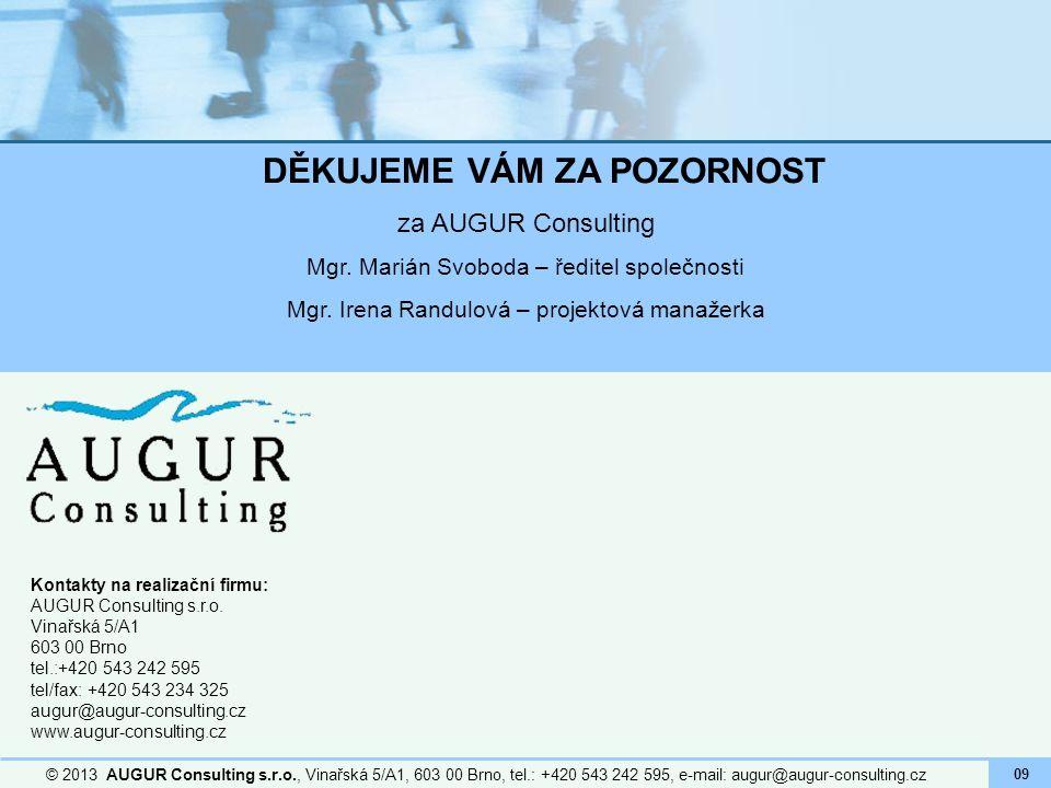 Kontakty na realizační firmu: AUGUR Consulting s.r.o. Vinařská 5/A1 603 00 Brno tel.:+420 543 242 595 tel/fax: +420 543 234 325 augur@augur-consulting