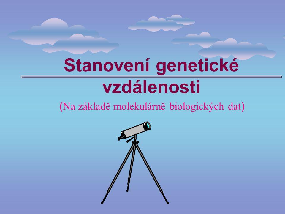 2 Obsah Metody výpočtu genetických vzdáleností na základě sekvenačních dat Nepřímé metody výpočtu genetických vzdáleností ze sekvencí Výpočty genetických vzdáleností na podkladě jiných typů znakových dat Měření genetických vzdáleností experimentálními metodami