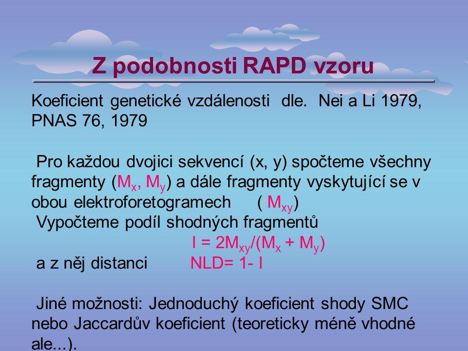 Z podobnosti RAPD vzoru Koeficient genetické vzdálenosti dle.