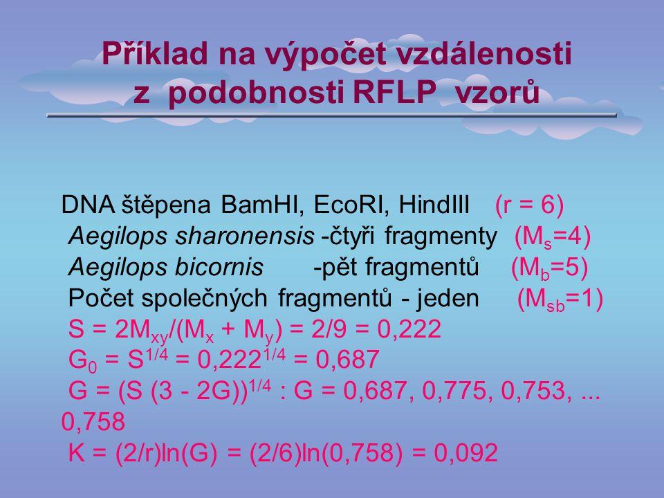 Příklad na výpočet vzdálenosti z podobnosti RFLP vzorů DNA štěpena BamHI, EcoRI, HindIII (r = 6) Aegilops sharonensis -čtyři fragmenty (M s =4) Aegilops bicornis -pět fragmentů (M b =5) Počet společných fragmentů - jeden (M sb =1) S = 2M xy /(M x + M y ) = 2/9 = 0,222 G 0 = S 1/4 = 0,222 1/4 = 0,687 G = (S (3 - 2G)) 1/4 : G = 0,687, 0,775, 0,753,...