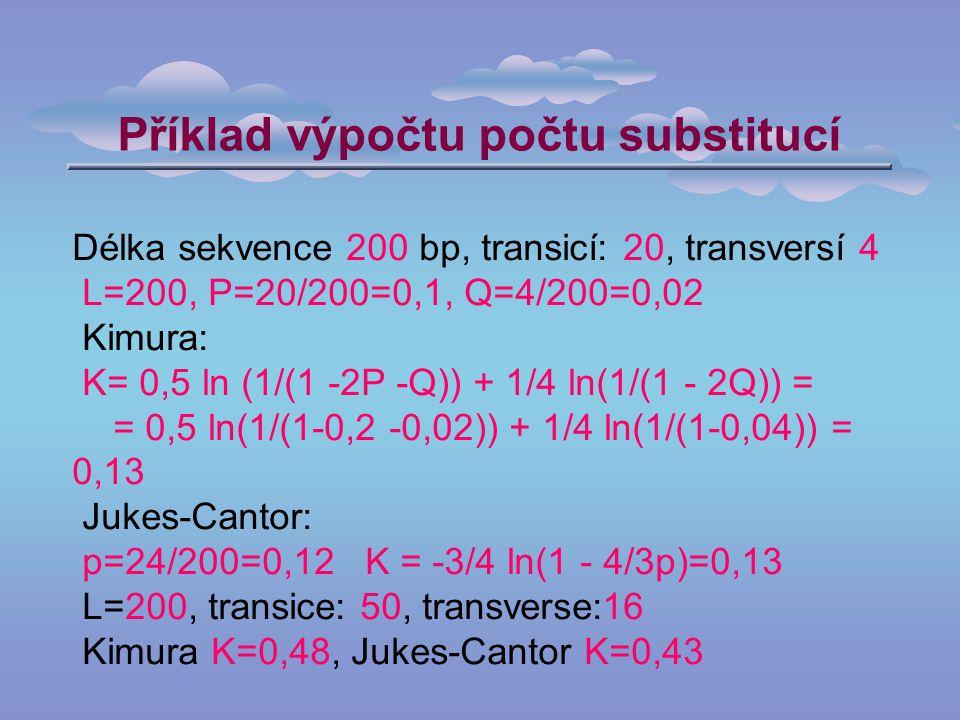 Příklad výpočtu počtu substitucí Délka sekvence 200 bp, transicí: 20, transversí 4 L=200, P=20/200=0,1, Q=4/200=0,02 Kimura: K= 0,5 ln (1/(1 -2P -Q)) + 1/4 ln(1/(1 - 2Q)) = = 0,5 ln(1/(1-0,2 -0,02)) + 1/4 ln(1/(1-0,04)) = 0,13 Jukes-Cantor: p=24/200=0,12 K = -3/4 ln(1 - 4/3p)=0,13 L=200, transice: 50, transverse:16 Kimura K=0,48, Jukes-Cantor K=0,43