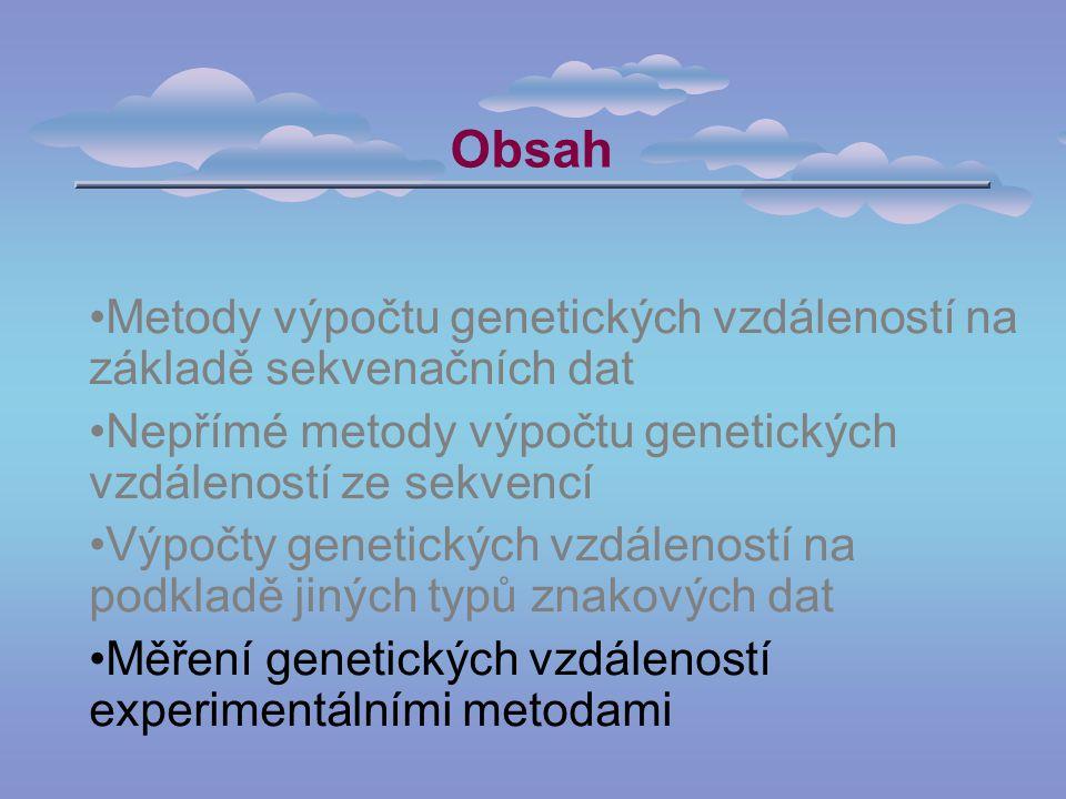 Obsah Metody výpočtu genetických vzdáleností na základě sekvenačních dat Nepřímé metody výpočtu genetických vzdáleností ze sekvencí Výpočty genetických vzdáleností na podkladě jiných typů znakových dat Měření genetických vzdáleností experimentálními metodami