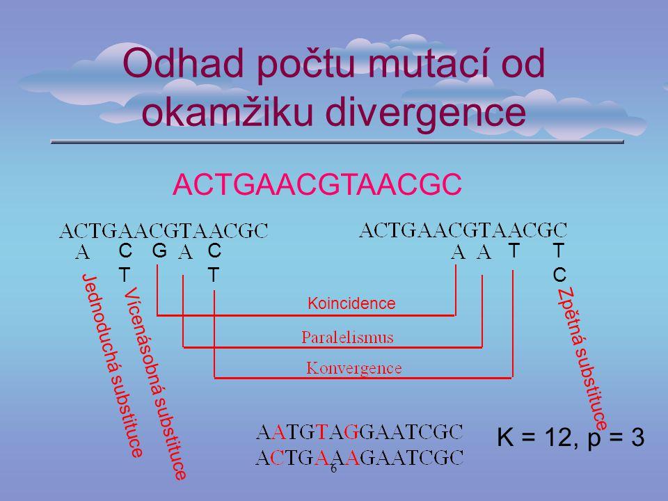 6 Odhad počtu mutací od okamžiku divergence K = 12, p = 3 ACTGAACGTAACGC Jednoduchá substituce Vícenásobná substituce Zpětná substituce CTCT TCTC GTCTCT Koincidence