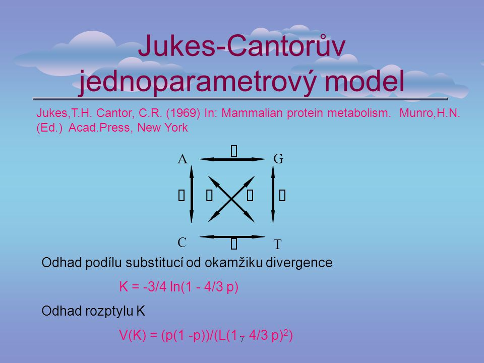 7 Jukes-Cantorův jednoparametrový model Jukes,T.H. Cantor, C.R. (1969) In: Mammalian protein metabolism. Munro,H.N. (Ed.) Acad.Press, New York AG C T