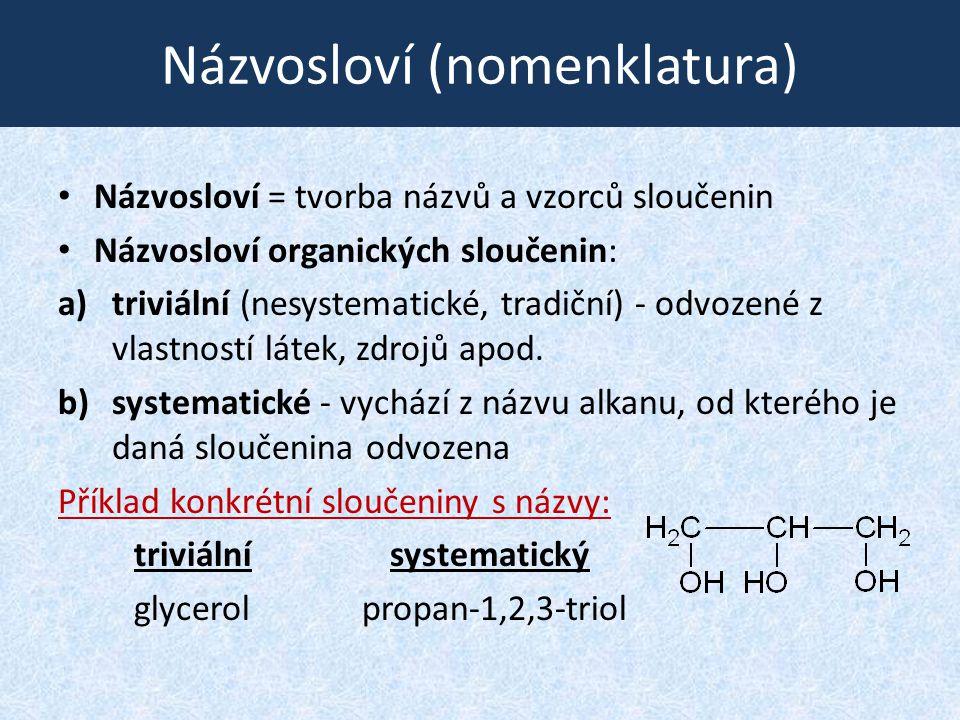 Názvosloví (nomenklatura) Názvosloví = tvorba názvů a vzorců sloučenin Názvosloví organických sloučenin: a)triviální (nesystematické, tradiční) - odvo