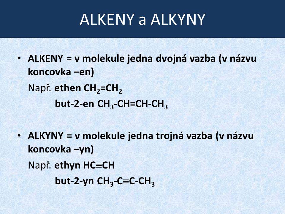 ALKENY a ALKYNY ALKENY = v molekule jedna dvojná vazba (v názvu koncovka –en) Např. ethen CH 2 =CH 2 but-2-en CH 3 -CH=CH-CH 3 ALKYNY = v molekule jed