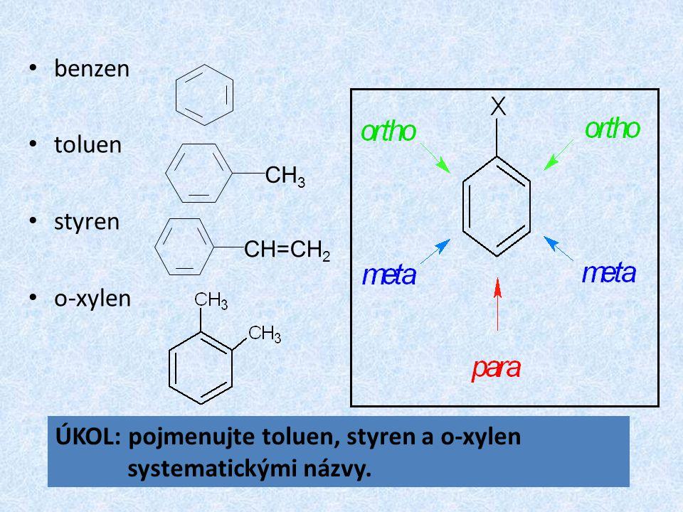 benzen toluen styren o-xylen CH 3 CH=CH 2 ÚKOL: pojmenujte toluen, styren a o-xylen systematickými názvy.