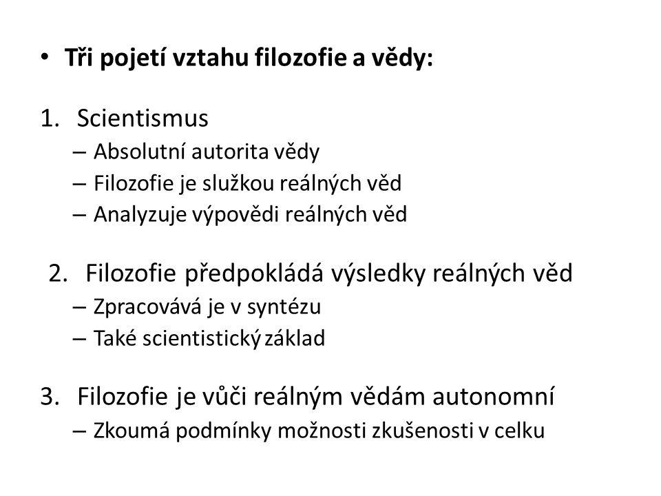 Tři pojetí vztahu filozofie a vědy: 1.Scientismus – Absolutní autorita vědy – Filozofie je služkou reálných věd – Analyzuje výpovědi reálných věd 2.Fi