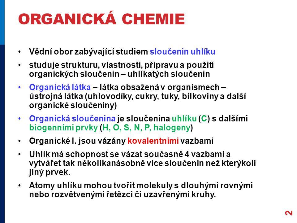ORGANICKÁ CHEMIE Vědní obor zabývající studiem sloučenin uhlíku studuje strukturu, vlastnosti, přípravu a použití organických sloučenin – uhlíkatých sloučenin Organická látka – látka obsažená v organismech – ústrojná látka (uhlovodíky, cukry, tuky, bílkoviny a další organické sloučeniny) Organická sloučenina je sloučenina uhlíku (C) s dalšími biogenními prvky (H, O, S, N, P, halogeny) Organické l.