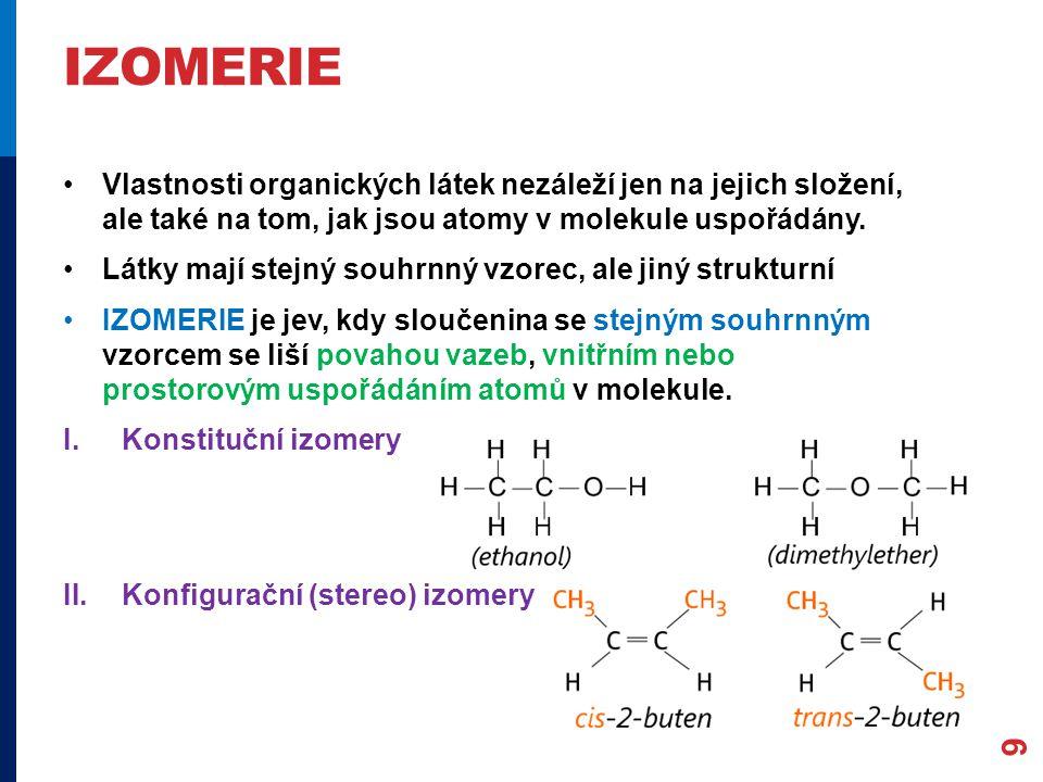 IZOMERIE Vlastnosti organických látek nezáleží jen na jejich složení, ale také na tom, jak jsou atomy v molekule uspořádány.